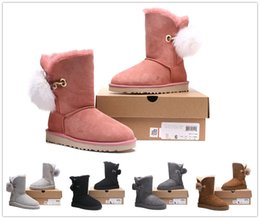 Wholesale Snow Boots Sheep - 2018 The new winter Free shipping Australian sheep leather fur waterproof antifouling women boots bow warm snow boots Sell cheap