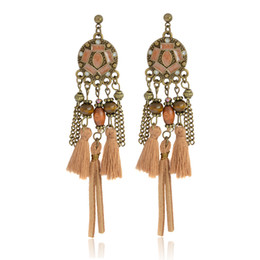 Wholesale Wholesale Leather Dangle Earrings - Vintage Statement Drop earrings Brown Round Beads Chain Leather Tassel Dangles Ethnic Charm Long earrings for Women Jewelry Gift