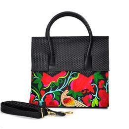 Wholesale Shoulder Bag Knitting Pattern - Ethnic Characteristics Desinger Handbags PU Leather Women Woven Bag Portable Shoulder Bag Leisure Embroidery Pattern Totes for Women Ladies