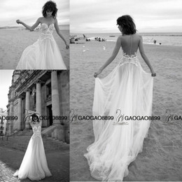 Wholesale Short Front Long Wedding - Liz Martinez 2016 Elegant Lace Tulle Summer Holiday Beach Wedding Dresses Sheer Neck Illusion Back Cheap Bridal Boho Wedding Gown