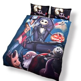 Wholesale Duvet Pcs - Amazing Nightmare Before Christmas Reactive Printing Bedding Set Twin Full Queen King Size Bedroom Decoration Duvet Cover Pillow Shams Skull