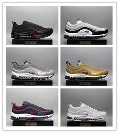 Wholesale Cheap Leather Sole Shoes - Mens Fashion 97 Running Shoes Cheap Air Sole Cushions Sports Basketball Casual Shoes Eur 40-46