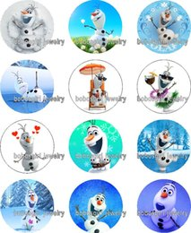 Wholesale Red Snowman - Free shipping christmas snowman DSNEY glass Snap button Charm Popper for Snap Jewelry good quality 12pcs   lot Gl365 jewelry making DIY