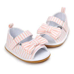 Wholesale First Knot - Wholesale- 2017 New Fashion Baby Girls Cotton Bow-knot Stripe Fabric First Walker Toddlers Kids Shoes