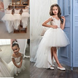 Wholesale Rhinestones Caps - Cute Ivory High Low Flower Girls Dresses For Weddings Sheer Neck Cap Sleeves Lace Tulle Princess Girls Pageant Dresses