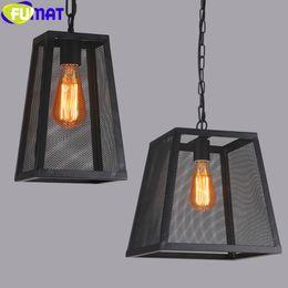 Wholesale Iron Nets - FUMAT Loft American Vintage Industrial Pendant Lamp Iron Pendant Light Living Room Bar Restaurant Iron Net Lighting Fixture