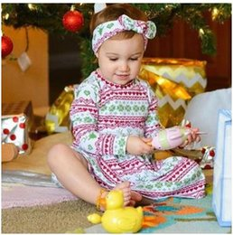 Wholesale Dress Set Girls Heart - Baby girls princess sets Toddler kids stripe love-heart deer printed dress+Bows hair band 2pcs suit Infants outfits Kids clothing Sets G1366