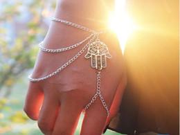 Wholesale Charms For Bracelets Wholesale Hamsa - Newest Fashion Bracelets for women Hamsa Fatima Asymmetric Tassel Bracelet Finger Ring Slave Chain Hand Harness Bangle