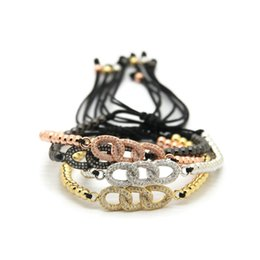 Wholesale Real Guns - Wholesale 4mm Real Gold, Rose Gold, Platinum &Black Gun Plated Round Beads Micro Pave Zircon Cz Beads Chain Braided Infinity Bracelets