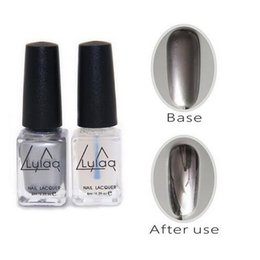 Wholesale Nail Varnish Sets - 2pc set 6ml Silver Mirror Effect Metal Gel Nail Polish Gel Varnish Top Coat Metallic Nail Art DIY Manicure Tools Gel Lak