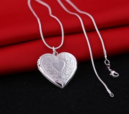 Wholesale Photo Locket Charms - Heart Locket Photo Pendant Necklace 1mm Snake Chain 18inch Silver Picture Frame Charm For Women Jewelry Valentine Lover Gift