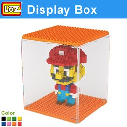 Wholesale Brick Display Cases - Wholesale-Loz Minifigure Buliding Bricks Display Box Nano Block Acrylic Show Case For All Brand Choice From Two Size 8 Color