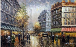 Wholesale Oil Painting Paris - Paris French Eiffel Tower 1900 Fall Afternoon Shops,Pure Hand Painted Impressionist Art Oil Painting Canvas.any customized size accepted Joh