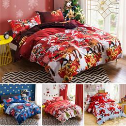 Wholesale Santa Claus Bedding - 3D Bedding Set Christmas Santa Claus Bed Sheets Duvet Cover Pillowcase Designer Home Textile Fashion Red Blue