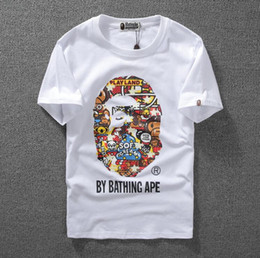 Wholesale Ape T - women Men Clothing Wear Tide Brand Shark Mouth Printing Men Women Lovers Fund ape Short Sleeve palace T shirt for Pity t-shirt fashion tshi