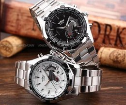 Wholesale Small Mechanical Watch - WINNER Automatic Mechanical Skeleton Watch Men Watch Stainless Steel Watchband Date Small Seconds Wristwatch Casual Watches