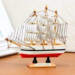 Wholesale Wholesale Sail Boats - 10PCS Handmade Wooden Ship Model Pirate Sailing Boats Toys For Children Home Decor not Removable
