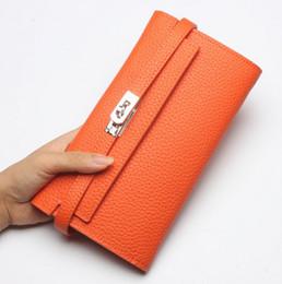 Neue Ankunft Luxus Brieftaschen für Frauen Hohe Qualität Echtes Leder Kartenhalter Damen Designer Lange Geldbörse Schloss Brieftasche von Fabrikanten