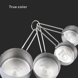 Wholesale Eco Gauge - Multifunction Copper Stainless Steel Measuring Cups 4 Pieces Set Kitchen Tools Making Cakes and Baking Gauges.