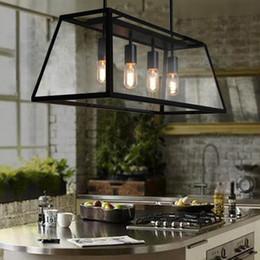 Edison lustre pingente de vidro on-line-Design moderno RH Filament Lustre Edison Lâmpada Caixa De Vidro Sala de estar FILAMENT CHANDELIER loft Lâmpada pingente
