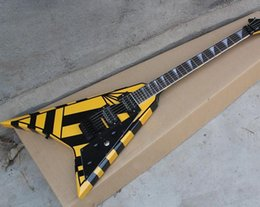 Wholesale Stripe Open Body - Unusual Flying Shape Electric Guitar with Black Stripes,Floyd Rose,2 Open Humbucker Pickups,Can be Customized