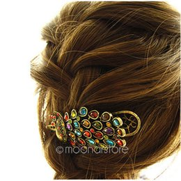 Wholesale Peacock Hair Barrettes - 1 PCS Hot Fashion New Vintage Womens Ladies Colorful Rhinestone Peacock Hairpin Barrette Hair Clip Hair Accessories