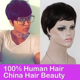 Wholesale Thick Black Wig - Thick Pixie Cut on Black Hair glueless full lace wigs brazilian wigs lace front cheap human wigs