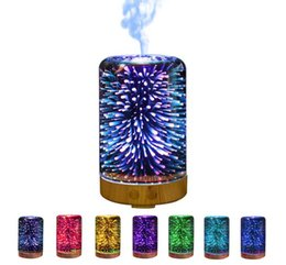 Wholesale Color Led Lamps - 3D LED Lights Oil Diffuser Ultrasonic Cool Mist Aromatherapy Humidifier 16 Color Changing Starburst Light Lamp 100ML Humidifier TOP2038