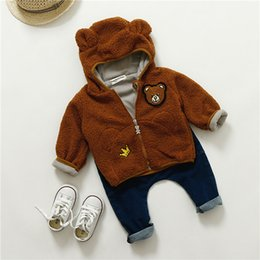 Wholesale Baby Teddy Bear Clothes - 2017 kids clothes winter children's clothing cotton children's baby girl Teddy Bear bear embroidery plus velvet jacket
