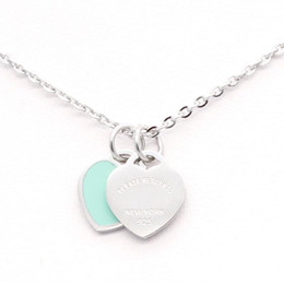 Wholesale Double Chain Necklace Gold - 9Colours 316L Stainless Steel Double Heart Pendant Necklace Please return to New York 925 Letters Necklace Wedding Jewelry for Women