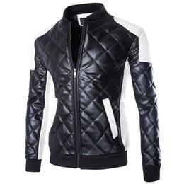 Wholesale white coat leather sleeves - US size Fashion Brand Designer Men Leather Locomotive Jacket Coat Motorcycle Stand Collar PU Jacket Male Outdoor Jacket