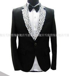 Wholesale Tuxedo Decorations - Wholesale-Free ship mens tuxedo suit black white rhinestone collar decoration, jacket with pants, not include shirt
