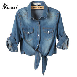 Wholesale Small Korean Jacket Coat - Wholesale- 2017 New Arrival Spring Korean Style Shirts Short Denim Shawl Jacket Women Denim Bow Jeans Small Cape Shirts Coat Plus Size 3XL