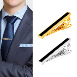 Wholesale Copper Ties - New 18K Gold Plated Platinum Plated Black Enamel Mens Shirt Hinged Tie Clip Tacks Clothing Jewelry