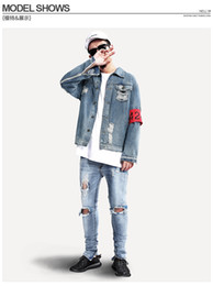 Wholesale Justin Bieber Winter - Fall-NEW fashion mens autumn winter denim blue jacket ripped quality trends hip hop swag hiphop Justin bieber street true jeans