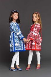 Wholesale Wholesale Monsoon Clothing - 2015 New Autumn Monsoon Brand Girls Dresse Flower Print Cotton Jacquard Princess Long Sleeve Dress Kids Children Clothes Blue Red