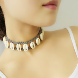 Wholesale Beach Sea Shells - handmade choker natural real shell Double Layer Braided Multilayer leather Chain Necklace Hawaiian Sea Shell Charm Beach Necklace Jewelry