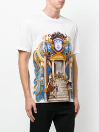 Wholesale Crown Tee - 2018 new Summer luxury Brand tshirt designer medusa geometry striped flowers palace religion crown color print Men casual women t-shirt tee