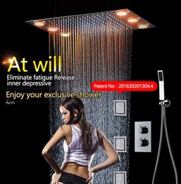 Wholesale Shower Set Temperature - Rainfall LED Shower Head Set 3 spray LED Lights &Handshower Remote control color 3 Way Temperature Thermostatic Mixer Bathroom 360*500mm