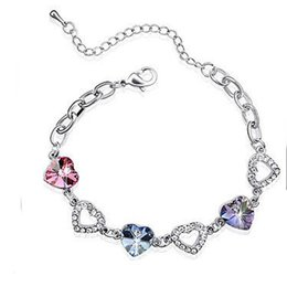Wholesale Austrian Crystal Bracelet Swarovski - Valentines Gift Austrian crystal rhinestone bracelet Swarovski Crystal Elements jewelry Optional multicolor mixed colors free shipping