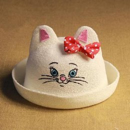 Wholesale Straw Animals Designs - Child Panda Cat Animal Straw Hat Bucket Summer Cap Childen Baby Hat 2 Design Free Shipping