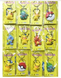 Argentina New 3sets (12pcs / set) Cartoon Anime Pocket Monsters Pikachu Elf PVC llavero colgante figura modelo llavero para el mejor regalo envío gratis Suministro