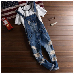 Wholesale Suspender Trousers Jeans - Wholesale-Men's Cool Ripped Hole Blue Denim Overalls Mens denim jumpsuit bib pants Suspenders Trouser For Man straight jeans For male