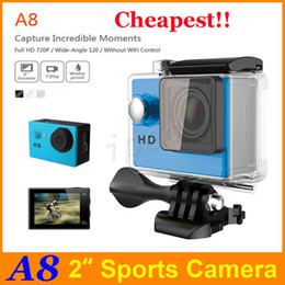 "Wholesale Cheapest Mini Digital Camera - Waterproof Sports Camera A8 HD Action Camera Diving 720P 30M 2"" 120° View Mini DV digital retail package cheapest DHL 50"