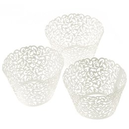 Wholesale Lace Cupcake Cases - Wholesale- 100pc Laser Cut Cupcake Wrapper Lace Wedding Cup Cake Wrappers Paper Cases Pink White Blue Purple Party Cake Decoration Holder