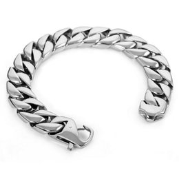 Wholesale Heavy Stainless Wrist - newest Men's Large Heavy Stainless Steel Bracelet Link Wrist Silver Black Polished