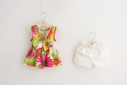 Wholesale Floral Vest Outfits - Babies Summer Lemon Sets Top+Short 2 pcs, Kids Girl Floral Bow Vest with Lemon Short Pants Children's Fashion Lemon Outfits
