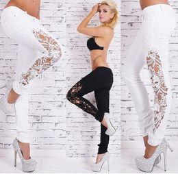 Wholesale Ladies Colored Pants - Fashion Women Jeans Pants Ladies Lace Floral Splice High Waist Jeans Hollow Out Casual Women lace jeans sky blue plus size S M L XL