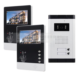 Wholesale Wired Video Intercom Doorbell Systems - Video Door Phone 4.3 inch Apartment Video Intercom Doorbell Security System IR Camera Touch Key for 2 Families