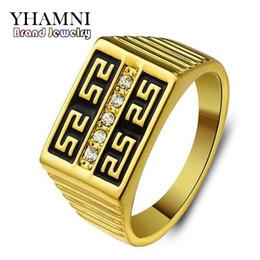 Wholesale Real Gold Rings Man - YHAMNI Brand Classic Men Real 24K Gold Filled Engagement Ring Fashion Jewelry Rhinestone CZ Diamond Wedding Rings For Men NH196